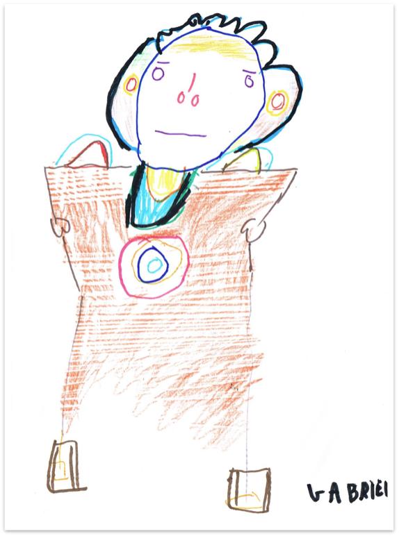 Auto retrato feito por uma aluna do IADHEC com déficit cognitivo.